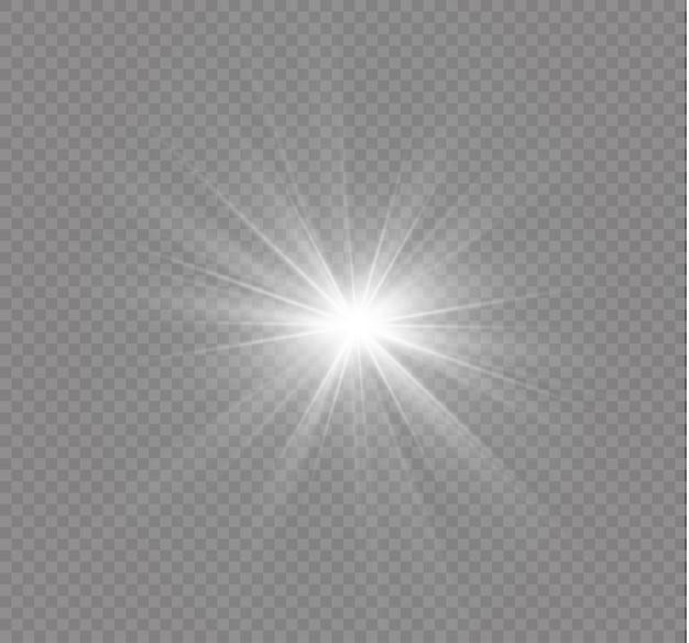 White glowing light explodes. bright star. transparent shining sun, bright flash.