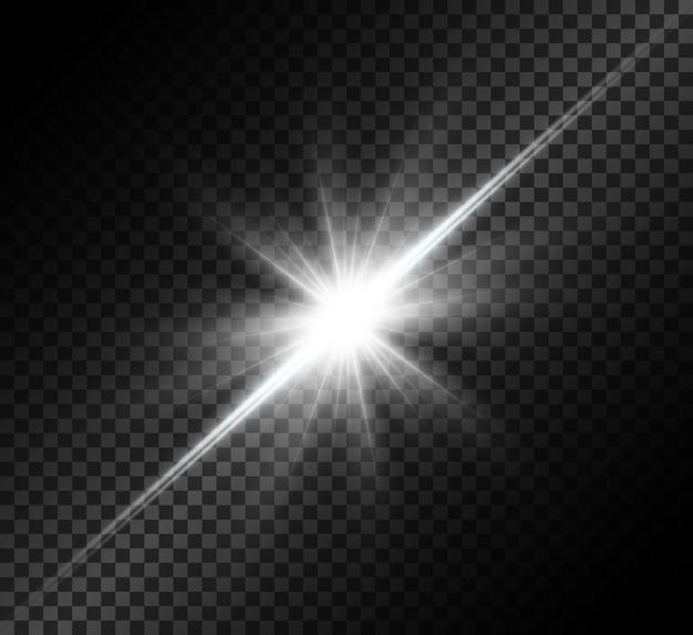 Белый светящийся свет взрывается. яркая звезда. прозрачное яркое солнце, яркая вспышка.