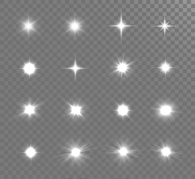흰색 빛나는 빛이 폭발합니다. 밝은 별.