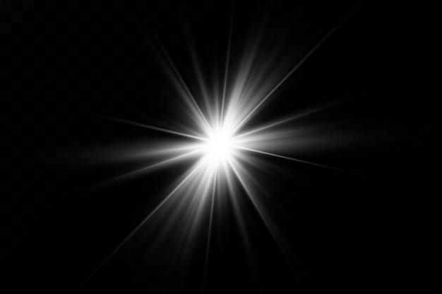 黒い背景に白い光が爆発する