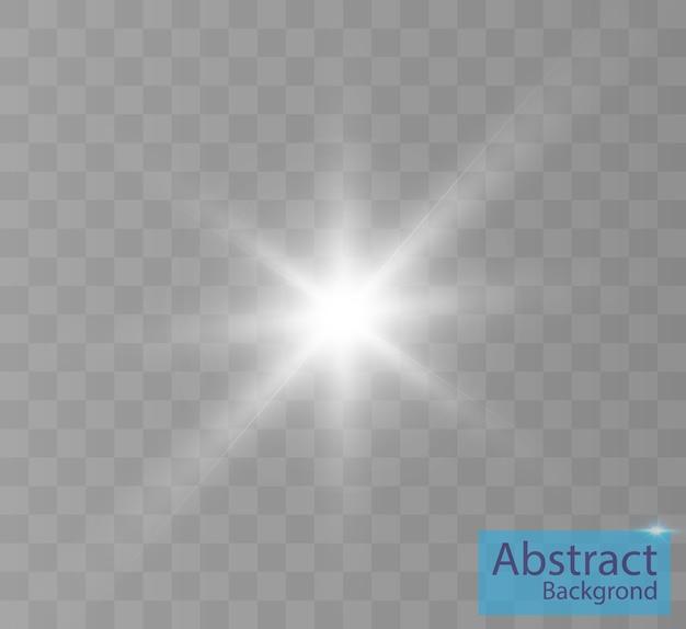Белый светящийся свет взрывается на прозрачном фоне яркая звезда прозрачное сияющее солнце яркая вспышка