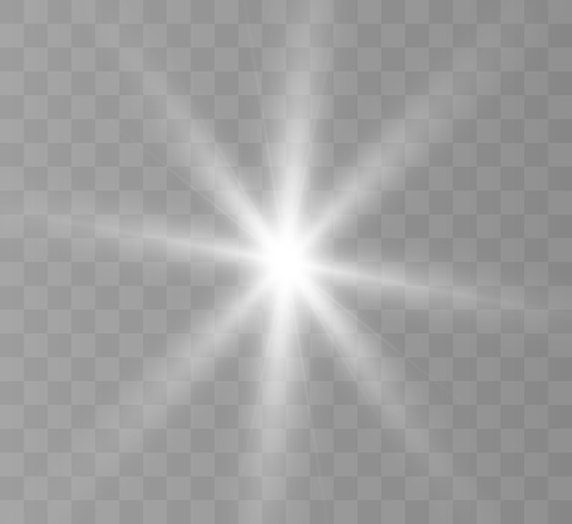 Белый светящийся свет взрывается на прозрачном фоне. яркая звезда.