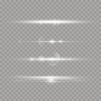 白い輝く光が透明な背景で爆発します。レーザー光線、水平光線。太陽の光。美しい光のフレア。