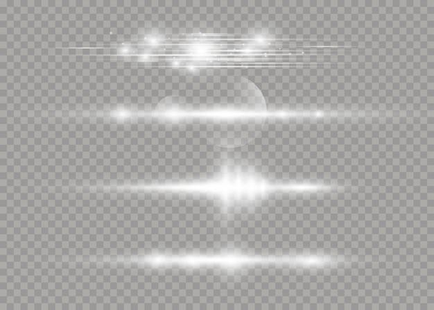 透明な背景で白い輝く光が爆発します。レーザー光線、水平光線。太陽の光。美しい光のフレア。