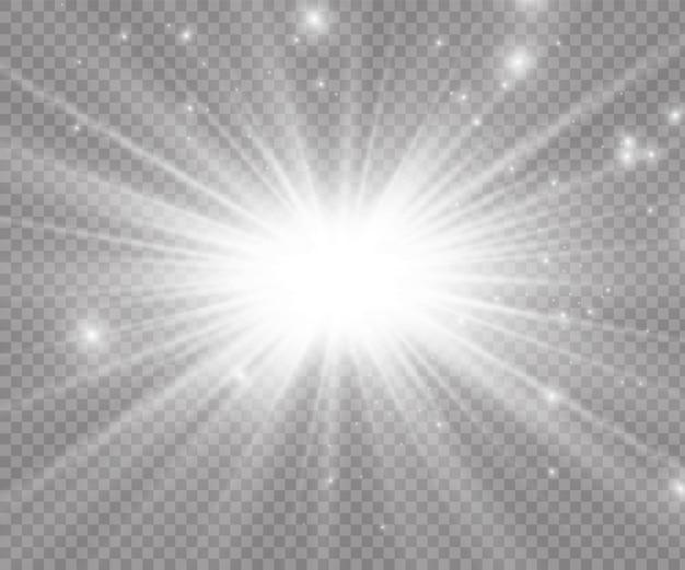 白く光る光が透明な背景で爆発し、魔法のほこりの粒子が輝いています。