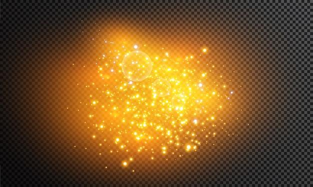 透明な背景に白く光る光が爆発します。きらめく魔法のほこりの粒子。輝く星。透明な輝く太陽、明るいフラッシュ。ベクトルがきらめきます。明るいフラッシュを中央に配置します。