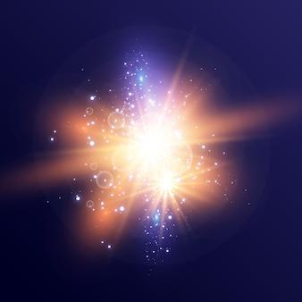 투명 배경에 흰색 빛나는 빛이 폭발합니다. 반짝이는 마법의 먼지 입자. 밝은 별. 투명한 빛나는 태양, 밝은 플래시. 벡터 반짝임. 밝은 플래시를 중앙에 배치합니다.