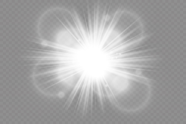 透明な背景に白く光る光が爆発します。きらめく魔法のほこりの粒子。輝く星。透明な輝く太陽、明るい閃光。ベクトルがきらめきます。
