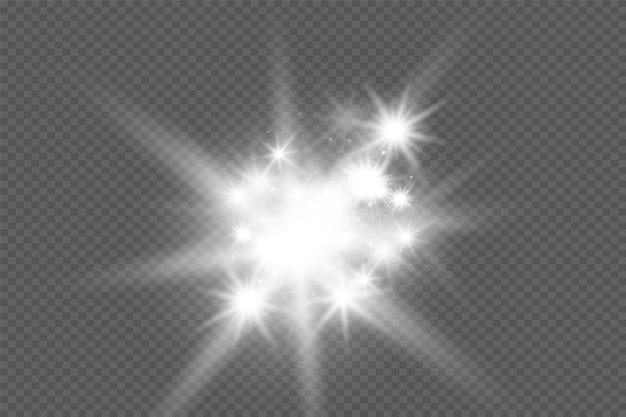 透明な背景で白く光る光が爆発するきらめく魔法のほこりの粒子
