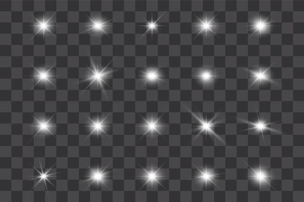 투명한 배경에 흰색 빛나는 빛이 폭발합니다. 투명한 빛나는 태양, 밝은 플래시.
