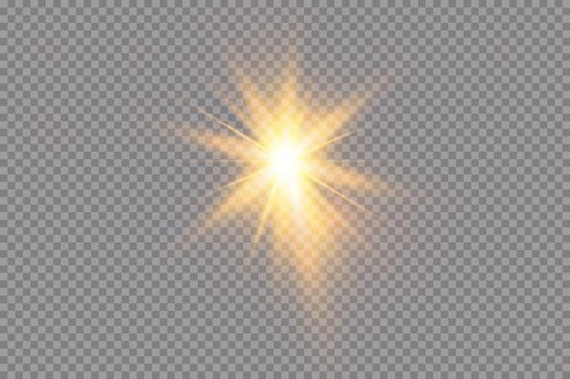 透明な背景に白い輝く光が爆発します。光線で。透明な太陽、明るいフラッシュ。明るいフラッシュの中心。