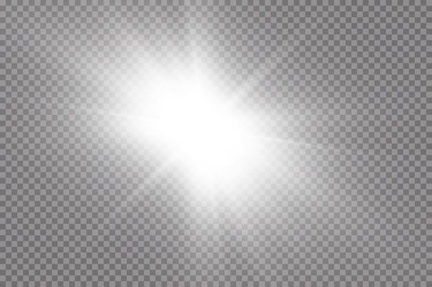 Белый светящийся свет взрывается на прозрачном фоне. с лучом. прозрачное яркое солнце, яркая вспышка. центр яркой вспышки.