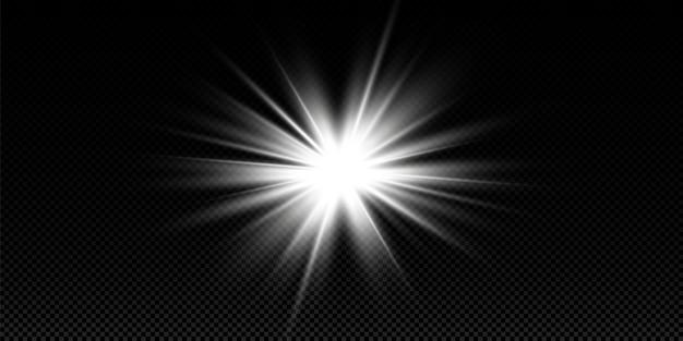 Белый светящийся свет взрывается на прозрачном фоне. с лучом.