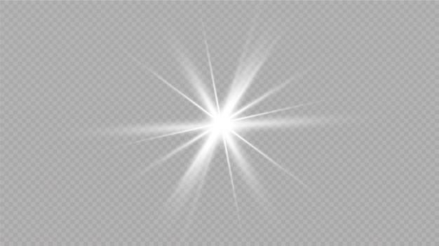 透明な背景に白い輝く光が爆発します。光線で。
