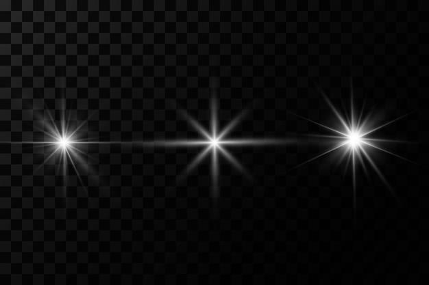 透明な背景に白く光る光が爆発する