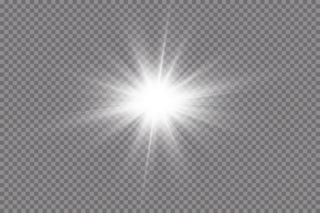 Белый светящийся свет взрывается на прозрачном фоне.
