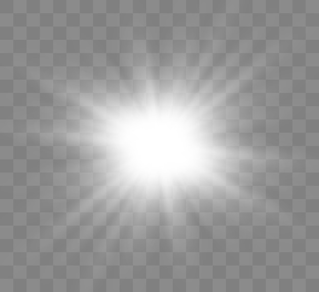 透明な背景に白く光る光が爆発します。