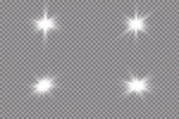 Белый светящийся свет взрывается на прозрачном