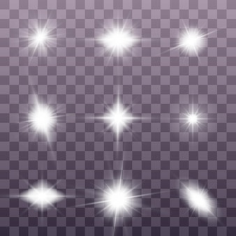 White glowing light explodes. sparkling magical dust particles. set of bright star.