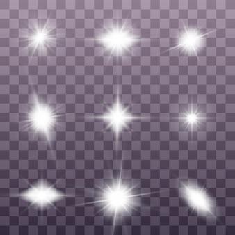 白く光る光が爆発します。きらめく魔法のほこりの粒子。ブライトスターのセット