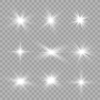 White glowing light explodes on a transparent background. sparkling magical dust particles. bright star. transparent shining sun, bright flash.  sparkles. to center a bright flash.