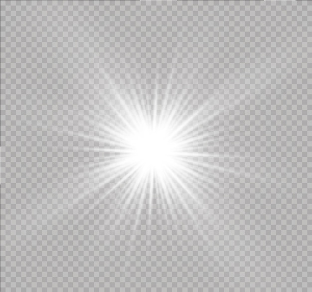 White glowing light explodes on a transparent background sparkling magical dust particles bright star transparent shining sun bright flash   sparkles