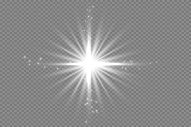 White glowing light explodes on a transparent background sparkling magical dust particles