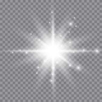 White glowing light explodes on a transparent . sparkling magical dust particles. bright star. transparent shining sun, bright flash