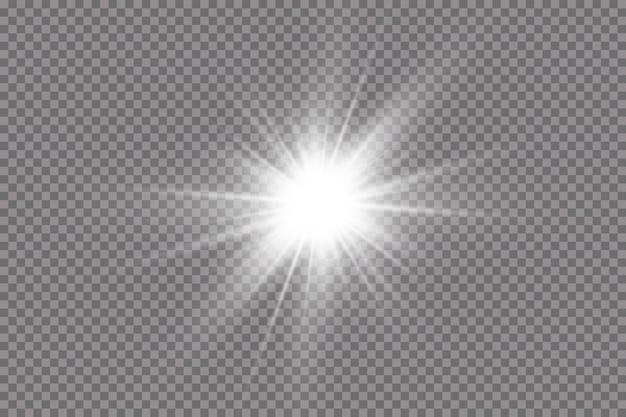 Белый светящийся свет взрывается. с лучом. прозрачное сияющее солнце, яркая вспышка. специальный эффект бликов объектива.