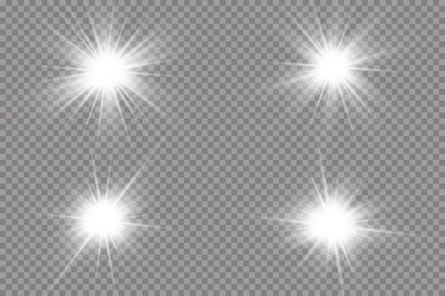 白い輝く光が爆発します。光線で。透明な太陽、明るいフラッシュ。特殊レンズフレアライト効果。