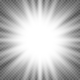 White glowing light flare burst explosion on transparent background