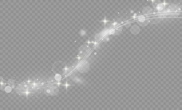 흰색 빛나는 빛 선 소용돌이 효과. 빛나는 마법의 불 링 트레일. 투명 배경에 고립 된 조명 효과와 흰색 라인. 반짝 스파클 소용돌이 흔적. 삽화.