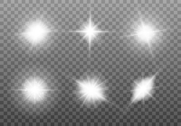 白く光る光。ブライトスターのセット。透明に輝く太陽