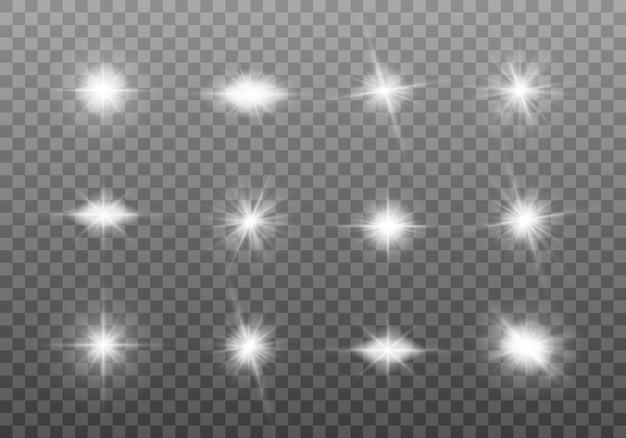 白く光るライトセット Premiumベクター