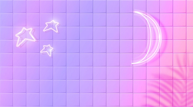 White glowing moon and stars neon effect on purple ceramic tiles wall  horizontal banner design