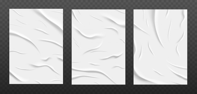Текстура белой клееной бумаги, набор листов мятой бумаги.