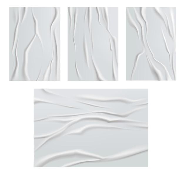 흰색 접착 용지는 구겨지고 구겨진 포스터 용지 질감입니다. 벡터 젖은 주름이 지거나 흰색 배경에 분리된 주름이 있는 시트가 찢어졌습니다. 빈 직사각형 모형 디자인, 현실적인 3d 종이