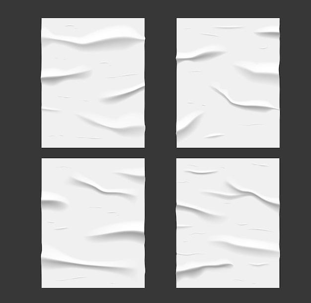 White glued wet paper posters, wrinkled and crumpled texture. vector creased sheets with corrugation isolated on black background, blank rectangular mockup for ads design. realistic 3d set