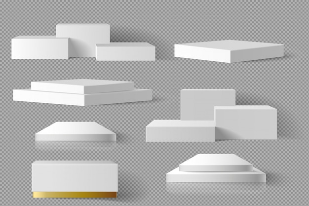 White and gold blank box square block marble template set with shadow background. concept podium stage showcase 3d realistic
