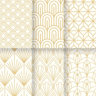 White and gold collection of art deco seamless pattern