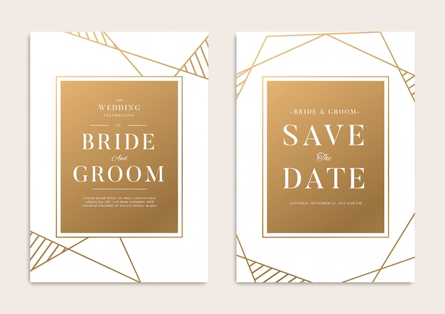 White gold geometrical wedding template