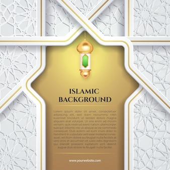 White gold islamic background with  green latern for eid mubarak and ramadan banner social media template post