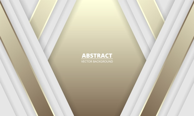White and gold luxury abstract background with silver and golden lines and shadows. modern light banner with luminous lines.