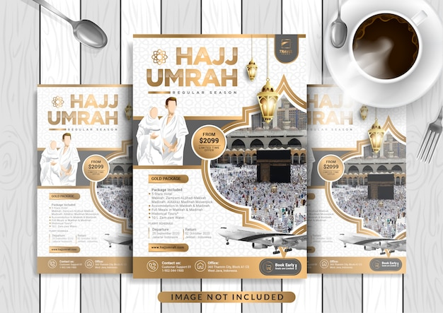 White gold luxury hajj & umrah flyer template in a4 size.