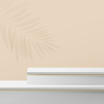 White and gold marble podium display composition.