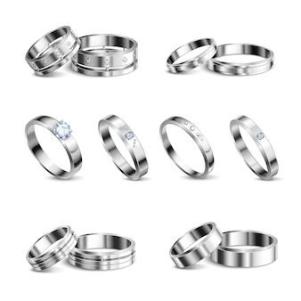 White gold platina noble metals wedding rings 6 realistic isolated sets jewelry shadow neutral background  illustration