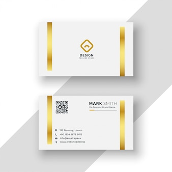 White and gold premium business card template