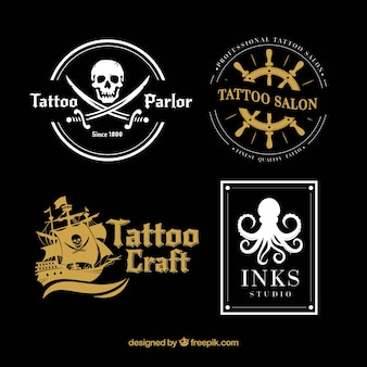 White and gold tattoo logo collection