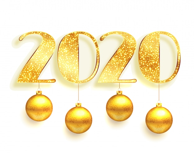 White and golden 2020 in sparkles style background