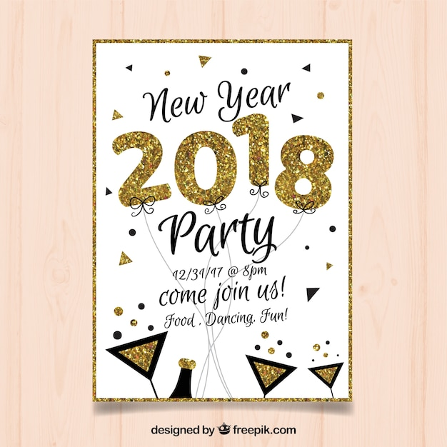 White and golden flyer for new year party